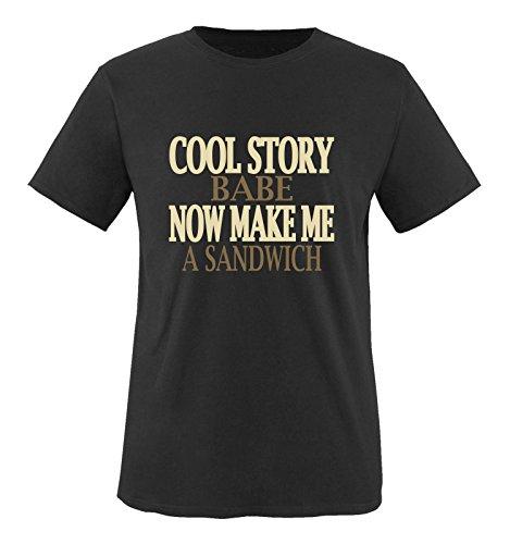 Comedy Shirts - Cool Story Babe. Now Make me a Sandwich - Herren T-Shirt - Schwarz/Hellbraun-Beige Gr. M
