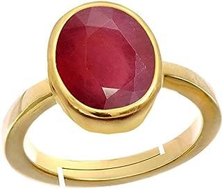 GEMS HUB Ruby/Manik Stone Panchdhatu Adjustable Ring for Men
