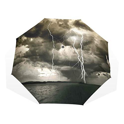 LASINSU Regenschirm,Majestätische Regenwolke mit Gewitter überall im Ozean Flash Sea Dramatic Scenery,Faltbar Kompakt Sonnenschirm UV Schutz Winddicht Regenschirm