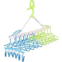 赤ちゃん10連ハンガー キッズ ベビーハンガー ハンガーラック 洗濯ハンガー 折り畳み 取り外し10連ハンガー,グリーン&ブルー