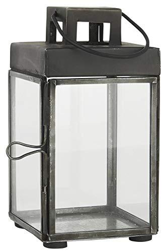 Ib Laursen Square Glazen Lantaarn/Pijler Kaarsenhouder met haak 15,5 cm