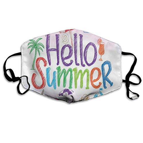 Winddicht masker, Hallo zomer motivatiecitaat met cocktail paraplu palmen sterfish Holiday print