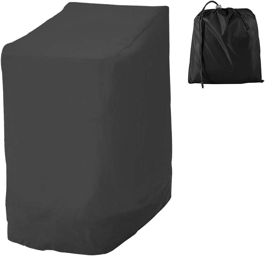 Funda de silla de jardín apilable, funda para silla exterior de tela Oxford 210D impermeable, funda de sillón protege el jardín, la silla, el balcón y la lluvia, 114 x 85 x 65 cm (negro)