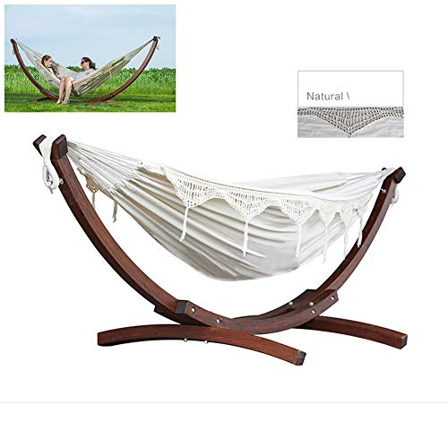 Double Cotton Hammock Bed, with Wooden Arc Outdoor Patio Hammock Stand Outdoor Hammock Swing Shelf for Courtyard Balcony Leisure,E