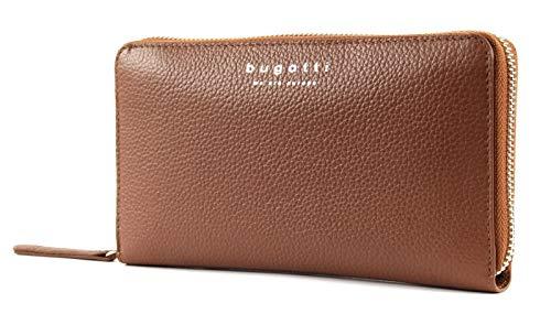Bugatti Linda Geldbörse Damen Groß 18CC - Frauen Geldbeutel mit Reißverschluss Lang - Damengeldbörse Langbörse Portemonnaie im Querformat, Cognac