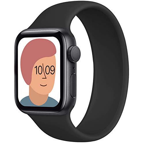AUNDYYU Solo Loop Armband Kompatibel mit Apple Watch 38mm 40mm 42mm 44mm Für die iWatch Series 6 SE 5 4 3 2 1, Silikon Sport Dehnbare Elastisch Damen Herren Ersatzband, 38/40mm #03 Schwarz