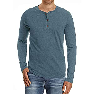 Men's Fashion Casual Front Placket Basic Long/Short Sleeve Henley T-Shirts