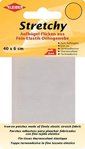 Kleiber + Co.GmbH Stretchy Aufbügel-Flicken, 100% Polyester, weiß, 40 x 6 x 0,05 cm