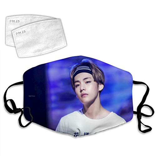 Unisex Adult Bts-V with Striped Headband Mouth Anti-Dust Mask Windproof Filter Reusable Face Cover Adjustable Ear Loops
