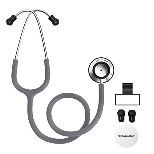 Dual Head Stethoscope for Medical and Home by FriCARE, Classic Lightweight Design, Stethoscope for Adult, Gift for Nurses, Doctors, Medical Students, 28 inch (Cement Grey)