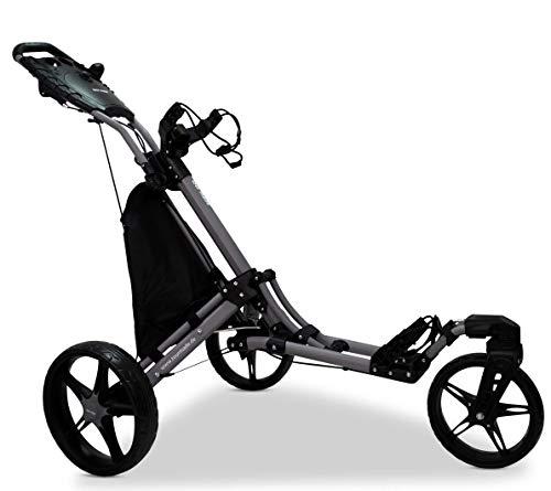 tour-made RT-140 V2 - Trolley da golf a 3 ruote, con push-trolley, Swivel grigio-nero