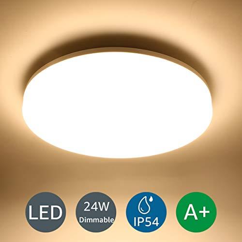 LE 24W Badlampe Dimmbar, IP54 Wasserfest LED Deckenlampe Bad, Ø33x4.8cm 2100lm 3000K Deckenleuchte Warmweiß, Ideal Lampen für Wohnzimmer, Schlafzimmer, Badezimmer, Kinderzimmer, Küche, Balkon,Flur
