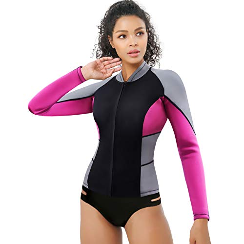 CtriLady Wetsuit Top, Women's Wetsuit Long Sleeve Jacket Neoprene 1.5mm High-Necked Wetsuits with Front Zipper for Swimming, Diving, Surfing, Boating, Sauna, Fitness and Sweating(Rose, M)
