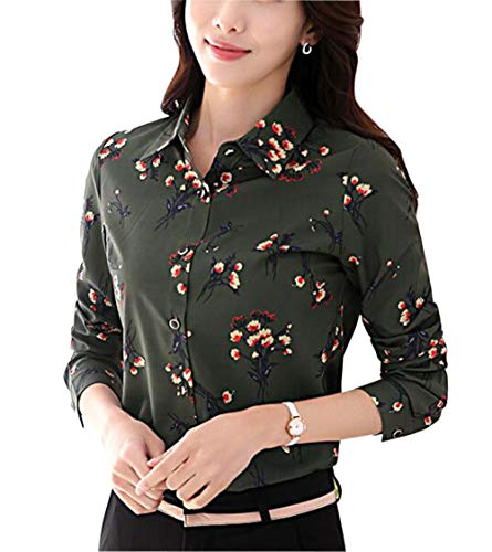 Double Plus Open Womens Floral Printed Button Down Long Sleeve Shirt Flower Blouse Atrovirens 12