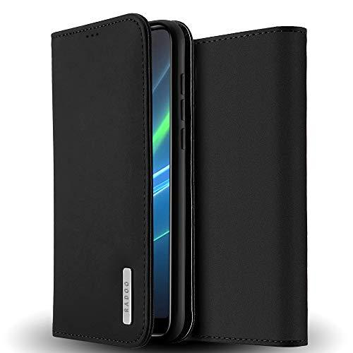 Radoo Funda Huawei P20 Pro Cuero Genuino, Carcasa Piel de Cuero Genuino con [Soporte Plegable] [Ultra-Delgado] TPU Parachoques Cover,Protección De Cuerpo Completo Case para Huawei P20 Pro (Negro)