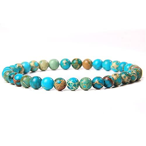 OYNAN Lucky Wealth Gelang Bracelet|Feng Shui Lucky Wealth Bracelet-Green Natural Stone Beads Amulet Bracelet for Women Men (Light Blue Emperor Stone)