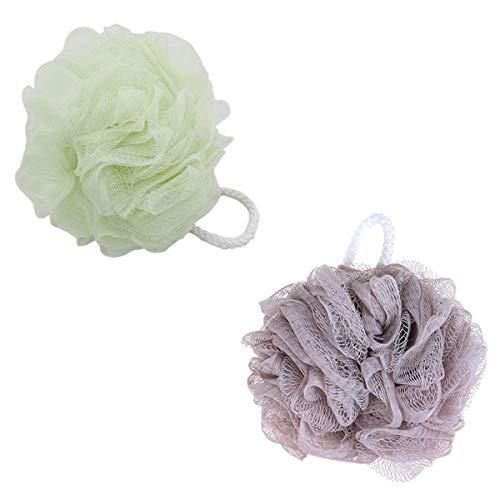 Lot de 2 éponges de douche en loofahs exfoliantes en maille éponge de douche, vert kaki ang matcha