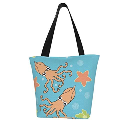 Bolsa de lona personalizada, bolsa de mano, lavable, para mujer, diseño de calamares