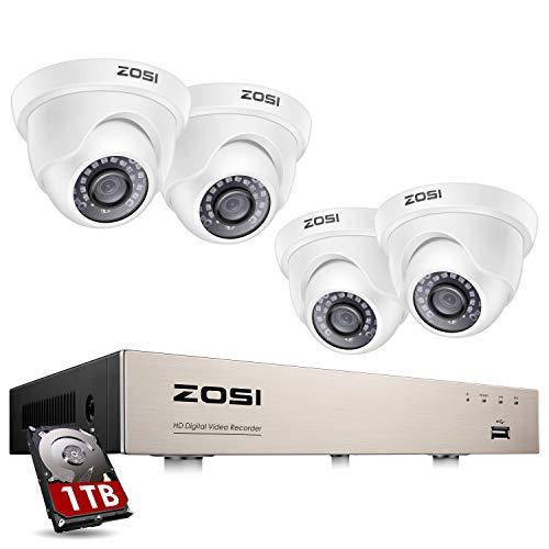 ZOSI Outdoor 1080P Überwachungskamera Set 8CH 1080N H.264 DVR mit 4 1080P Außen Weiß Dome Kamera CCTV System für Innen und Außen, 1TB Festplatte, 20M IR Nachtsicht