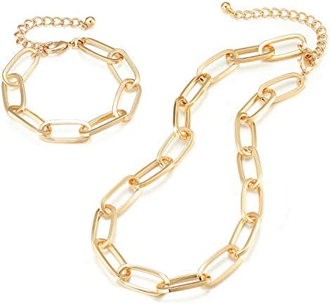 Chunky Chain Link Necklace and Bracelet Lane Woods 14K Gold Plated Paperclip Jewelry Set for product image