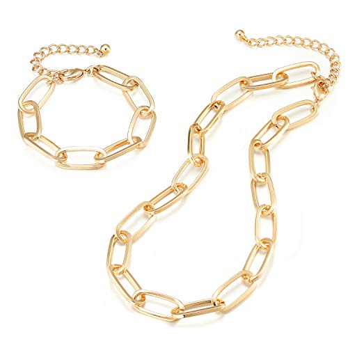 Chunky Chain Link Necklace and Bracelet - Lane Woods 14K Gold Plated Paperclip Jewelry Set for Women