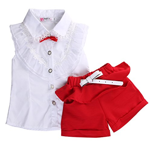 Fancy Baby Girls Princess Lace Floral Tops Shirt+Short Pants Outfits Set Twinset (5-6 Years, White&red)