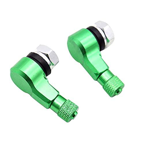 ihreesy 90 Grados de Aire Válvula de Neumático,1 Par de Válvula de Neumático Aleación de Aluminio Válvula de Neumático Tapas de Vástago de Válvula de Neumático de 90 Grados Tapas,Verde
