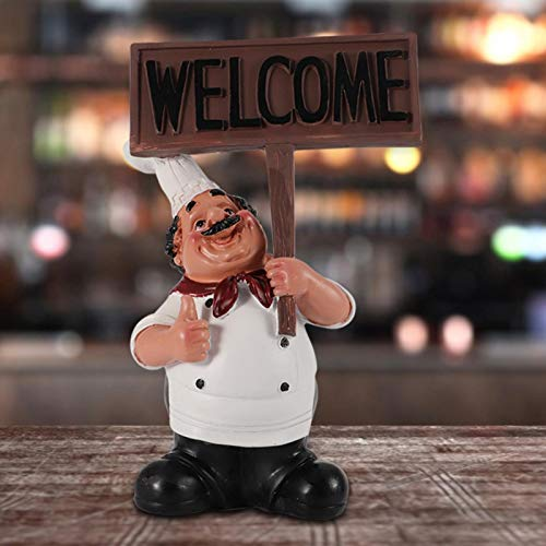 Estatua de Chef de Resina Modelo de Cocinero, Figura de Chef Bonita para Accesorios de Barra de Cocina, Adorno de Restaurante, cafetería(bs-003)