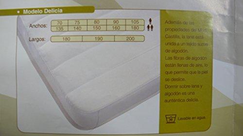 COLCHÓN DE Lana 100%, CUBRECOLCHÓN ANTIESCARAS, Topper Sistema DE Descanso Tradicional Bienestar del SUEÑO (Lana 500 GR + Algodon, Cuna 50 X 100 CM)