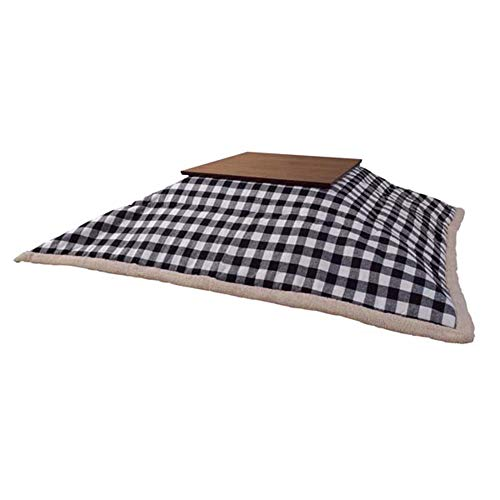 AZUMAYA KK-153WH Kotatsu Futon Square Shape, White and Black Checkered Design with Polyester Fabric Material, W75.0 x D75.0 Inches, Home and Living, White and Black Checkered Design Color