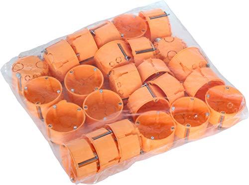 Meister Holle wanddoos inbouw - oranje - Ø 68 mm freesgat - voor het inbouwen van schakelaars en stopcontacten/verdeeldoos/schakeldoos/holle muur doos 25 stuks. 45 mm tief