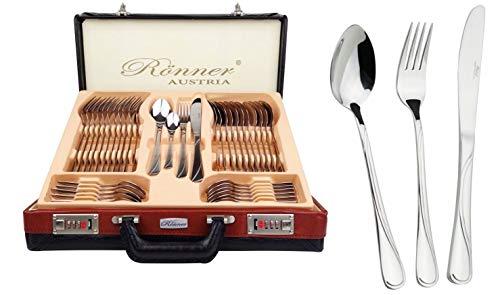 Zegg Besteckset Essbesteck für 12 Personen im Koffer 72-TLG. Besteckgarnitur Silber