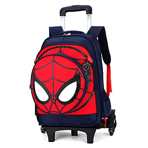 MYYLY Spiderman Trolley Mochila Superhéroe Varilla De Tracción Mano Equipaje 6 Ruedas Viajes para Niños Vacaciones Bolsa Libros Escuela Primaria Día,Black 6 Wheel-30X41X14CM