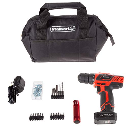 Stalwart 20V Cordless Drill with Rechargeable Lithium Ion Battery & 101 Piece Accessory Set - Portable Power Tool with Bits, Drivers & Bag