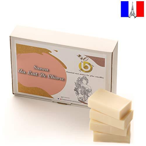 Biozain Savon Lait de Chèvre - Hydratant Naturel pour Peau Sèche et Irritée - Savon Anti-Âge Huile de Tournesol et Glycérine - Doux et Hypoallergénique - Fabriqué en France - 400 g, Pack de 4