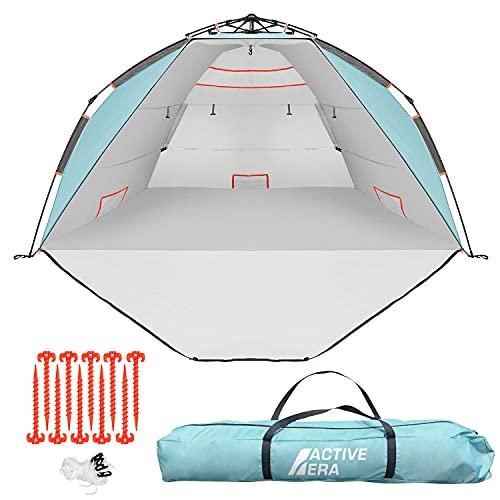 Active Era Luxus Strandzelt mit UV-Schutz (LSF 50+) - Strandmuschel XXL, wasserabweisend, Easy Pitch Aufbau mit kompakten Packmaß - Idealer Windschutz für Strand, Garten und Camping