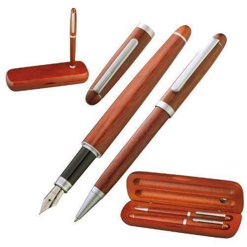 GM-IT Schrijfset met edele houtoptiek, balpen en vulpen, inclusief houder