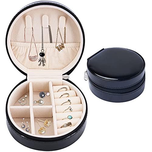 HONZUEN Caja Joyero Pequeña e Viaje, Portátil Joyero Viaje Cajas para Joyas Mini Jewelry Box Organizer para Mujer para Anillos, Aretes, Pulseras y Collares, Negro