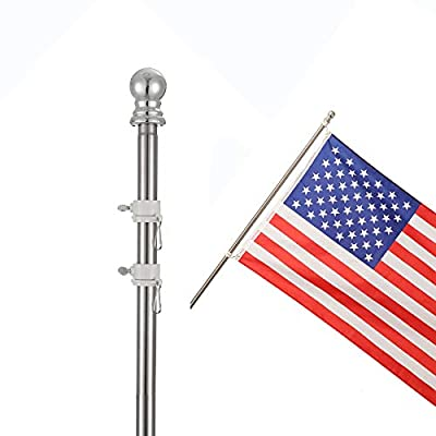 """COCOHOME 7FT Flag Pole Kit - 1"""" Professional Tangle-Free Spinning Flagpole for 3x5 US Marine Flag, Outdoor House Boat Truck Decoration. (Only Pole, NO Flag or Bracket)"""