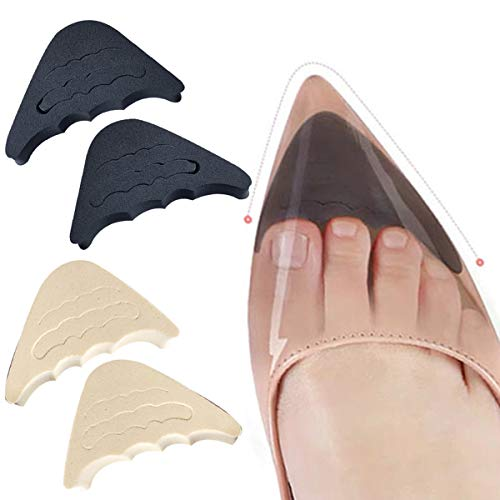 Ponacat 4 Pairs Shoe Filler Adjustable Toe Inserts for Too Big Shoes for Women Men High Heels Flats Sneakers Black Beige