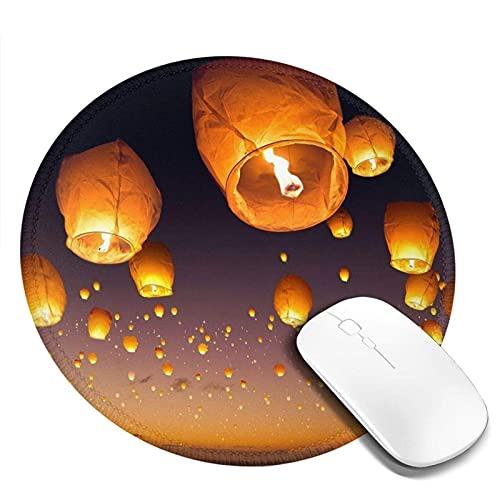 Chinesische fliegende Laternen gedruckt rundes Mauspad, Mousepad für Desktop-Computer Laptop, Mausmatte für Working Gaming, Mini Funny Unique Mouse Pad für Zuhause, Bürodekor