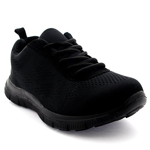 Get Fit Mens Mesh Running Trainers Athletic Walking Gym Shoes Sport Run - Black - 9