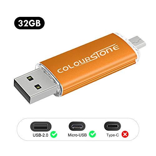 OTGMemoria USB 2.0, Colourstone 32GB Pendrive del Puerto Dual Compatible con Samsung Huawei Smartphones y Tablets Memoria Externa, Cobre Oro