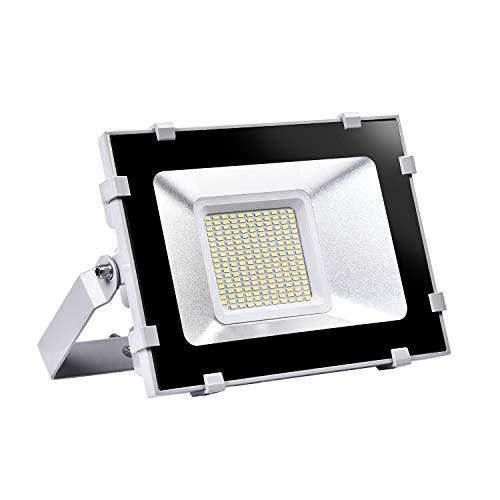 Viugreum Faretto a LED da 100W, IP65 Resistente all'acqua LED esterno,Faretto Proiettore LED 12000LM, 6000-6600K Lampada LED Esterni, Lampada Potente Risparmio Energetico Faretto per Giardino