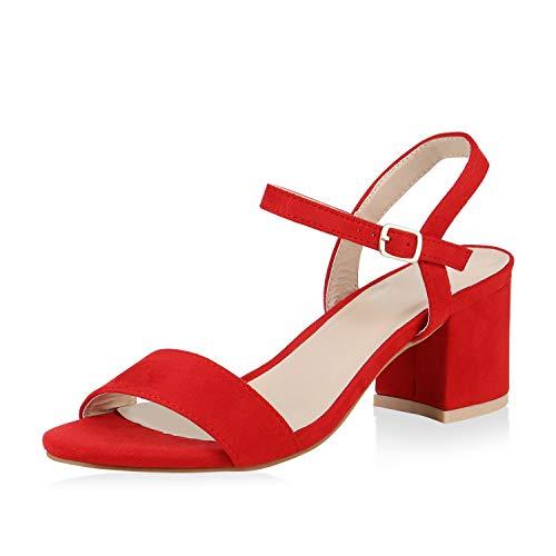 SCARPE VITA Damen Riemchensandaletten Blockabsatz Sandaletten Sommer Schuhe Mid Heel Klassische Abendschuhe Metallic 173913 Rot Red 37