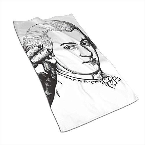 QHMY Serviettes De Salle De Bain Doux Microfibre Absorbent Serviette d'eau pour Piscine Baignoire Spa Fitness Plage Nager Camping en Plein Air Maison 27,5 X 17,5 po Wolfgang Amadeus Mozart Portrait