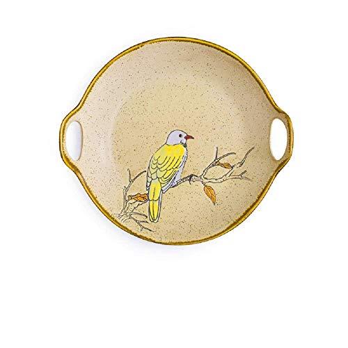 XUSHEN-HU cerámica Pintado a Mano de Flores y pájaros Puros de cerámica Vajilla Cubiertos Noodle Bowl Plato de Arroz Western Steak Plate Plato de Pescados Placa Amarilla Clásico