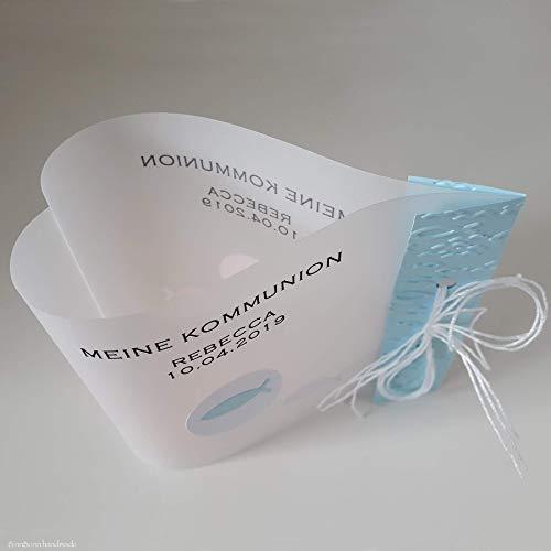 10 personalisierte Lichthüllen Teelichthüllen für Tischlicht Windlichter Tischdeko zur Taufe Firmung Kommunion Konfirmation Segnung Fische türkis Herzform Handarbeit binnbonn