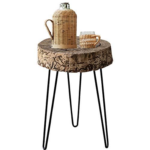 TY-ZWJ Retro Mesa de café, Registro de Acero del Estilo del pie Accent sólido Mesita de Noche Mesita de salón sofá Industrial Estilo de Tabla de café