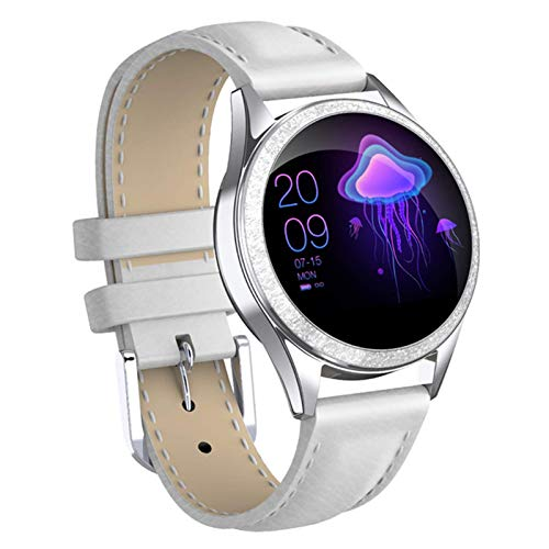 Gymqian Smart Watch, Kw20 Bluetooth Smart Watch Women Pantalla Completa Diamond Aley Smartwatch Monitor de Ritmo Cardíaco Sport Lady Watch para Ios Andriod, Fácil de Usar Regalos de